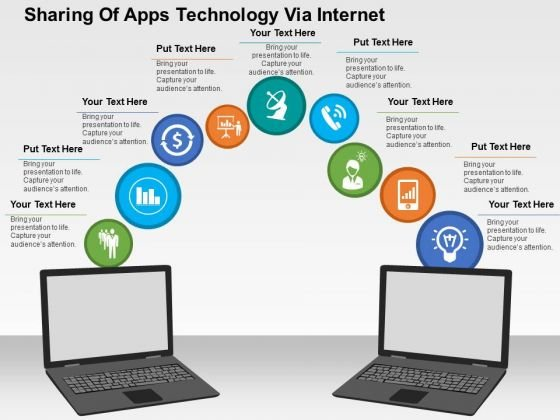 Sharing Of Apps Technology Via Internet PowerPoint Template