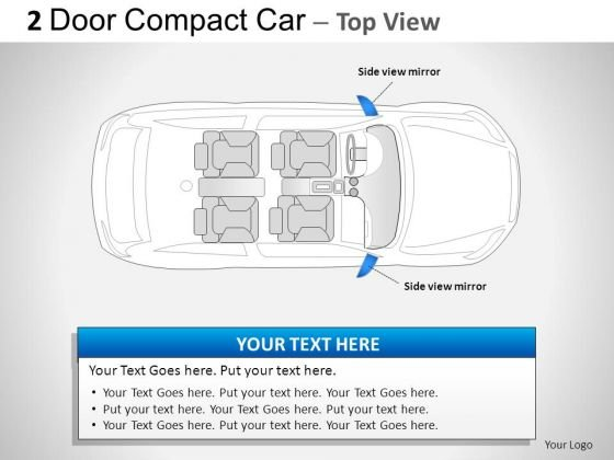 Shiny Small 2 Door Blue Car Top PowerPoint Slides And Ppt Diagram Templates