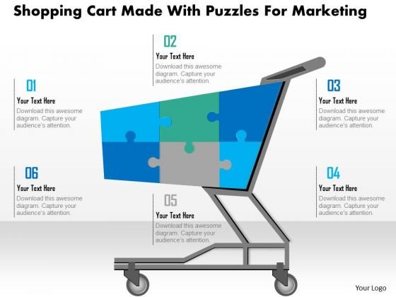 Shopping Cart Made With Puzzles For Marketing Presentation Template