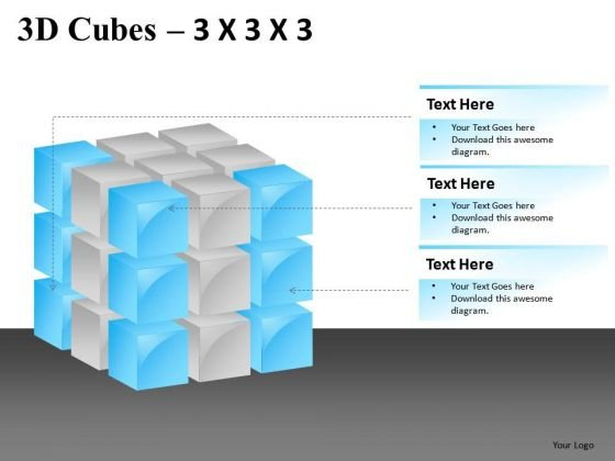 Show Factors Components 3d Cube 3x3x3 PowerPoint Slides And Ppt Diagram Templates