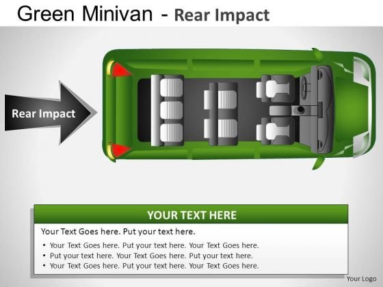 Side Green Minivan Top View PowerPoint Slides And Ppt Diagrams Templates