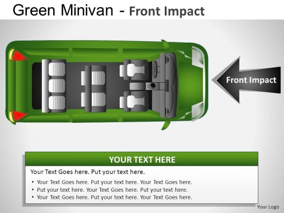 Sideview Green Minivan Top View PowerPoint Slides And Ppt Diagrams Templates