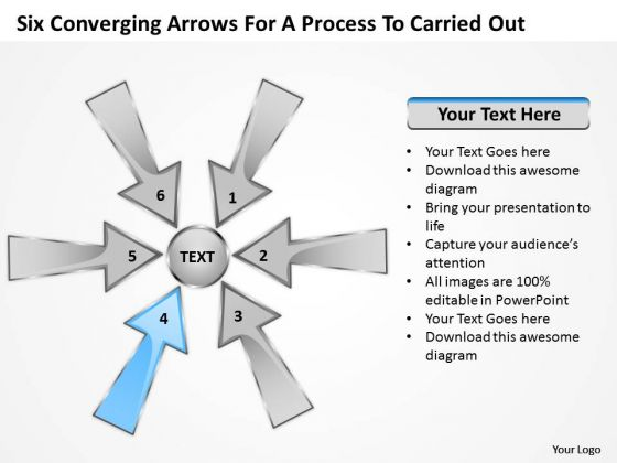Six Coverging Arrow For Process To Carried Out Circular Chart PowerPoint Slides