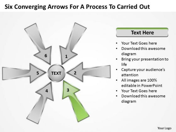 Six Coverging Arrows For Process To Carried Out Circular Chart PowerPoint Slide
