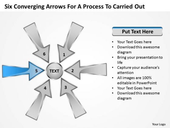 Six Coverging Arrows For Process To Carried Out Ppt Circular Chart PowerPoint Slide