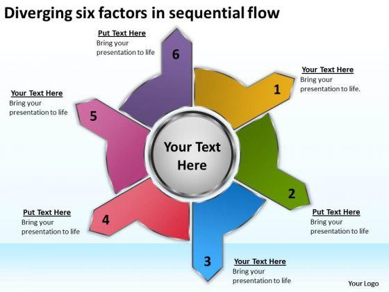 Six Factors In Sequential Flow Relative Circular Arrow Diagram PowerPoint Templates