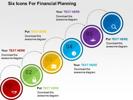 Six Icons For Financial Planning PowerPoint Template