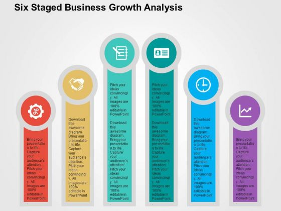 Six Staged Business Growth Analysis PowerPoint Template