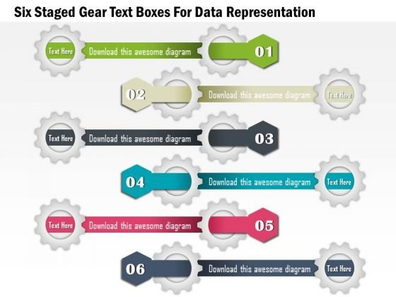 Six Staged Gear Text Boxes For Data Representation Presentation Template