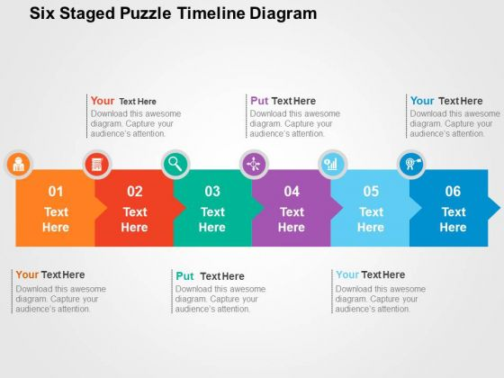 Six Staged Puzzle Timeline Diagram PowerPoint Template