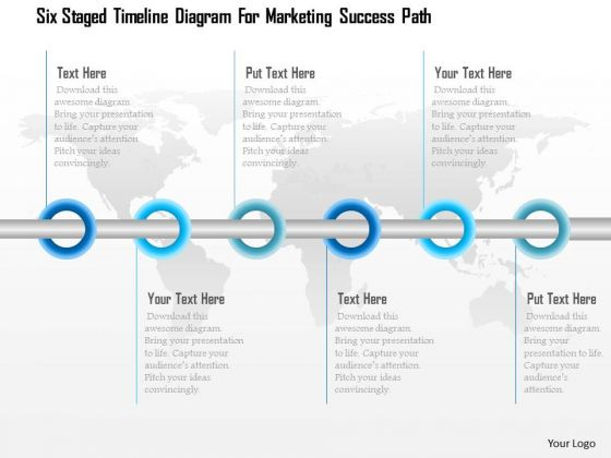 Six Staged Timeline Diagram For Marketing Success Path Presentation