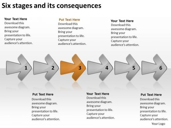 Six Stages And Its Consequences Standard Business Plan PowerPoint Templates