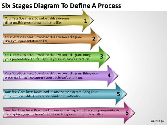 Six Stages Diagram To Define Process Free Templates For Business Plans PowerPoint