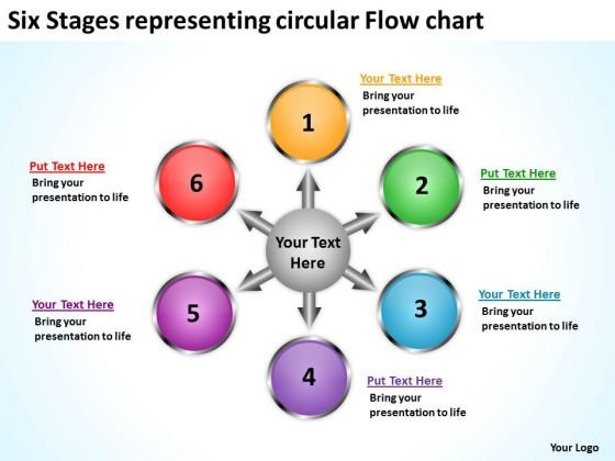 Six Stages Representing Circular Flow Chart Spoke Diagram PowerPoint Templates