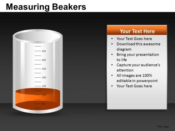 Slightly Full Measuring Beaker PowerPoint Templates Editable Ppt Slides