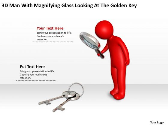 Small Business Network Diagram With Magnifying Glass Looking At The Golden Key PowerPoint Slides