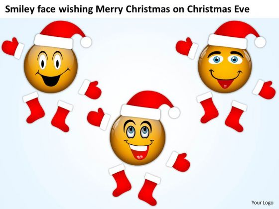 Smiley Face Wishing Merry Christmas On Eve Circuit Design PowerPoint Templates