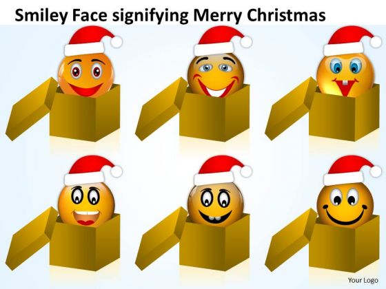 Smiley Faces In Box On Christmas Eve Peace Joy PowerPoint Slides
