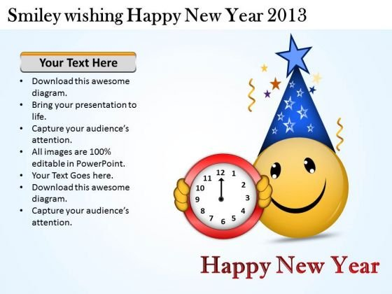 Smiley Wishing Happy New Year 2013 Flow Chart Creator Online PowerPoint Templates