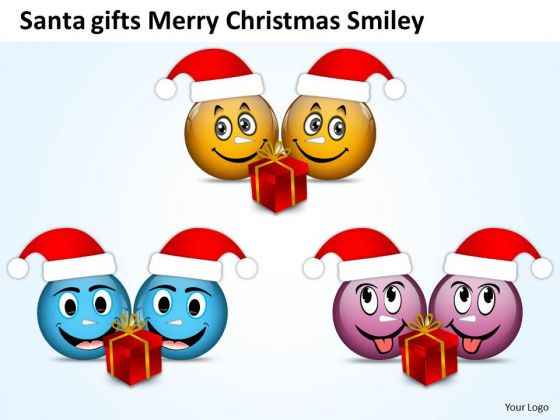 Smileys Having Santa Gifts On Merry Christmas Eve PowerPoint Slides