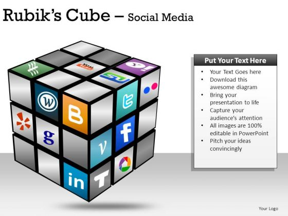 Social Media Components Rubiks Cube PowerPoint Slides And Ppt Diagram Templates