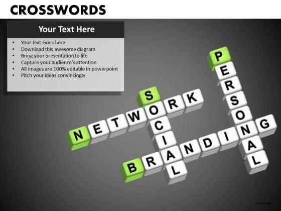 Social Network Branding Crosswords PowerPoint Templates