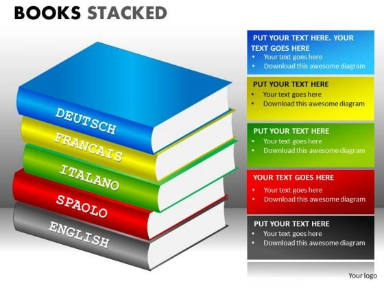 Spanish Italian French German Language Books PowerPoint Templates
