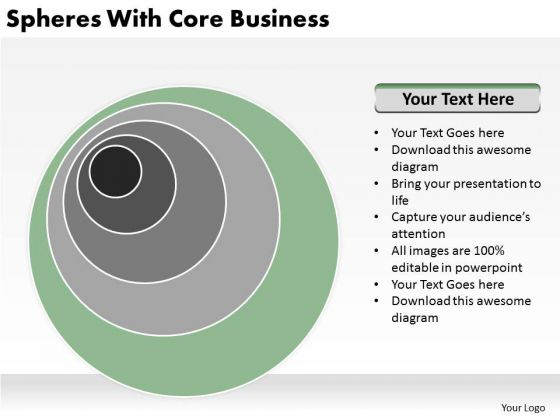 Spheres With Core Business Non Profit Plan Template PowerPoint Slides