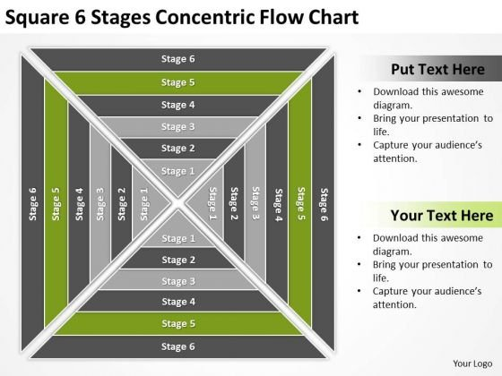 Square 6 Stages Concentric Flow Chart Ppt Business Plan PowerPoint Template