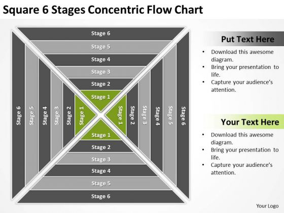 Square 6 Stages Concentric Flow Chart Ppt Business Plan Sample PowerPoint Templates