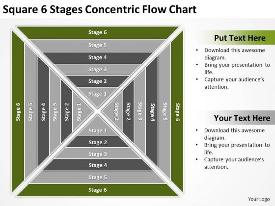 Square 6 Stages Concentric Flow Chart Ppt Sample Small Business Plan PowerPoint Slides