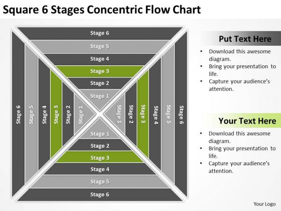 Square 6 Stages Concentric Flow Chart Ppt Template For Business Plan PowerPoint Templates