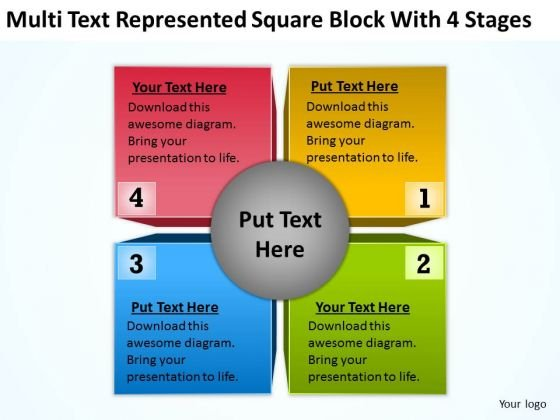 Square Block With 4 Stages Ppt Business Plans Examples PowerPoint Templates