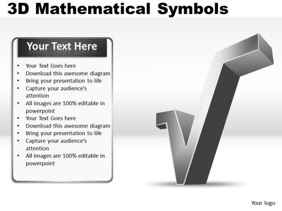 Square Root 3d Mathematical Symbols PowerPoint Slides And Ppt Diagram Templates