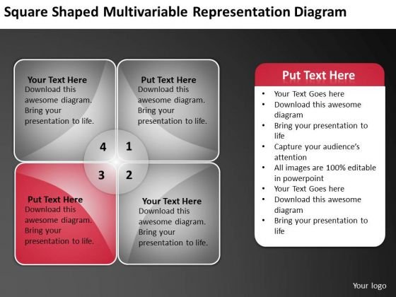 Square Shaped Multivariable Representation Diagram Ppt Startup Business Plan PowerPoint Slides