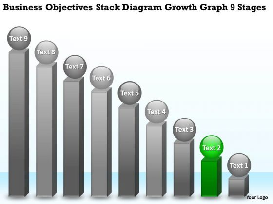 Stack Diagram Growth Graph 9 Stages Small Business Plan PowerPoint Templates