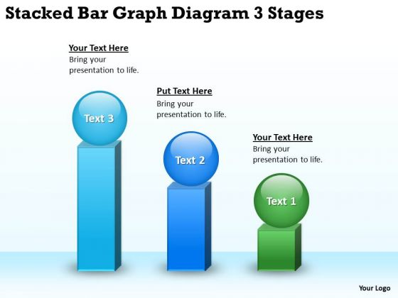 Stacked Bar Graph Diagram 3 Stages Business Plan Outline PowerPoint Templates