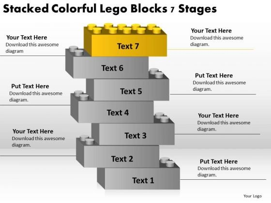 Stacked Colorful Lego Blocks 7 Stage Business Plan PowerPoint Slides