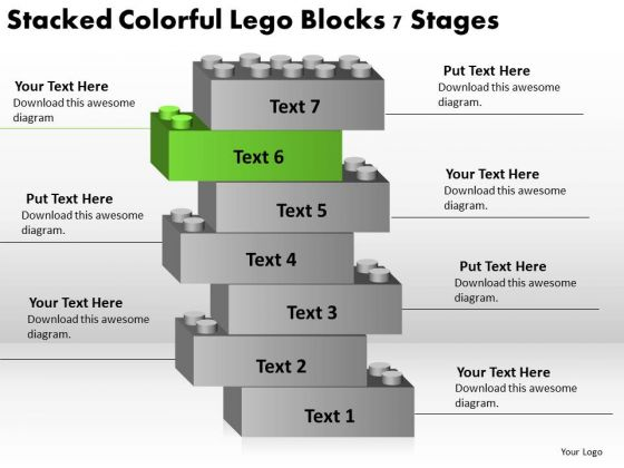 Stacked Colorful Lego Blocks 7 Stages Need Business Plan PowerPoint Slides