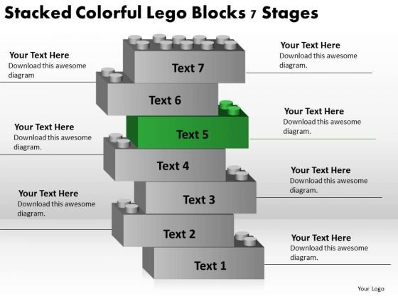Stacked Colorful Lego Blocks 7 Stages Ppt Business Plan PowerPoint Slide