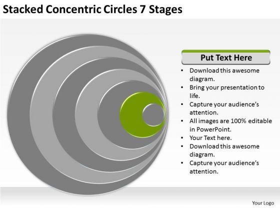 Stacked Concentric Circles 7 Stages Business Plan Free Point Slides 1 2