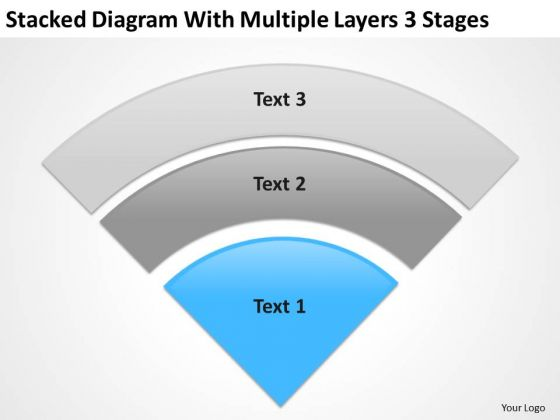 Stacked Diagram With Multiple Layers 3 Stgaes Business Plan PowerPoint Templates