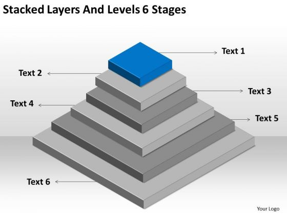 Stacked Layers And Levels 6 Stages Ppt Mock Business Plan PowerPoint Slides