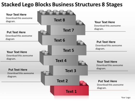 Stacked Lego Blocks Business Structures 8 Stages Ppt Plan PowerPoint Slides