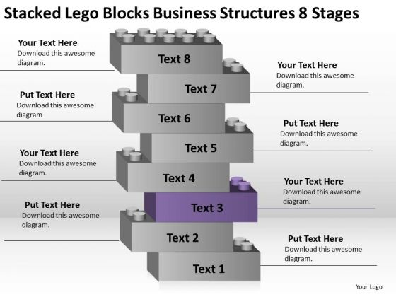 Stacked Lego Blocks Business Structures 8 Stages Ppt Plan PowerPoint Templates
