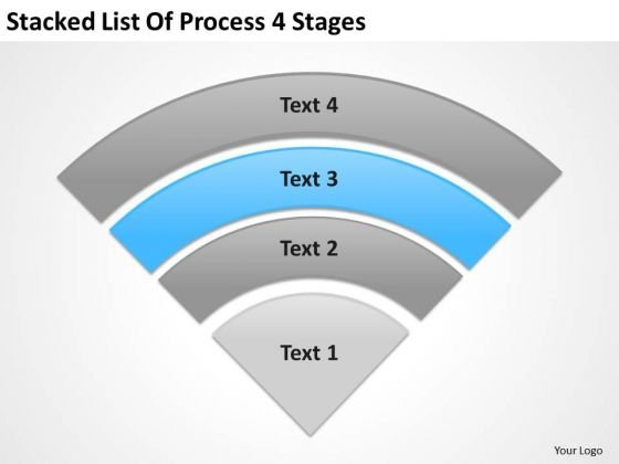 Stacked List Of Process 4 Stages Ppt Business Plan PowerPoint Slides
