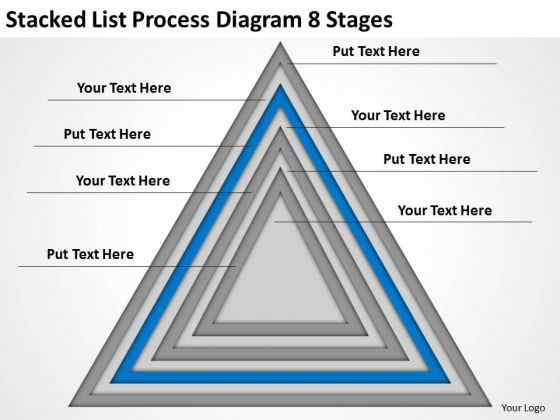 Stacked List Process Diagram 8 Stages Online Business Plan PowerPoint Templates