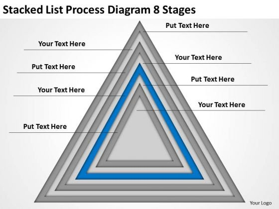 Stacked List Process Diagram 8 Stages Ppt Business Plan PowerPoint Templates