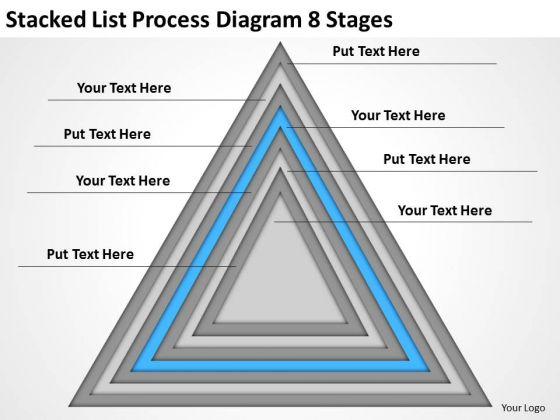 Stacked List Process Diagram 8 Stages Ppt Examples Of Business Plan PowerPoint Slides