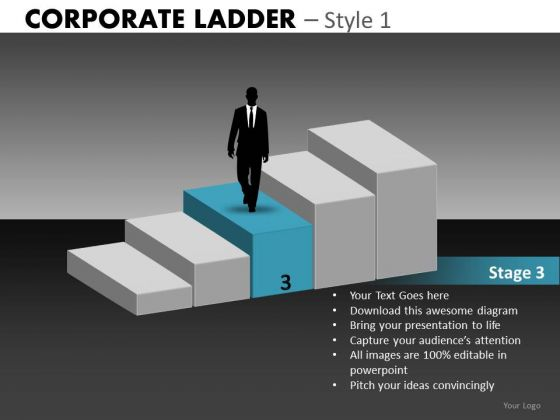 Stage 3 Of 5 Corporate Ladder Powerpoint Templates - Powerpoint